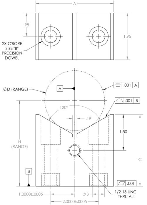 Cable Clamping V Rest Drawing