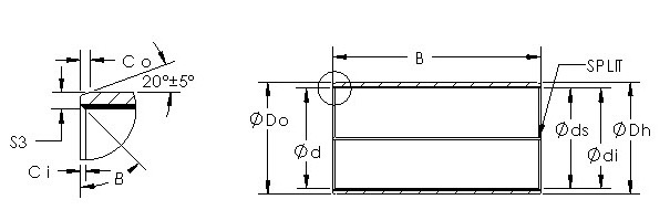 AST850BM 2525 metal backed bronze bushing drawings