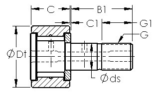CF26 cam follower roller bearing cad drawing