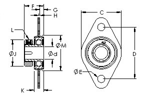 S1PPB73ST mounted flangette bearing drawings