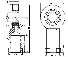 SIZJ12 rod ends CAD drawing