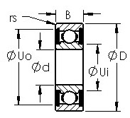 R12-2RS R series ball bearing drawings