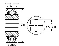 SQ108-102 square bore ball bearing drawings