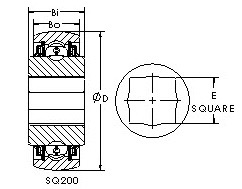 SQ208-100 square bore ball bearing drawings
