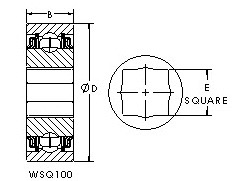 GWSQ110-102 square bore ball bearing drawings