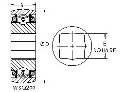 WSQ210-102 square bore ball bearing drawings