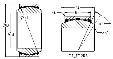 GE40ET-2RS spherical plain radial bearing drawings