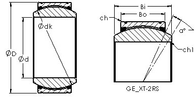 GE280XT-2RS spherical plain radial bearing drawings
