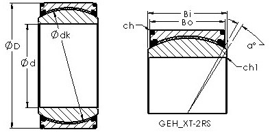 GEH200XT-2RS spherical plain radial bearing drawings