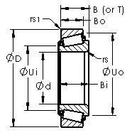 Jl6154/J16285 tapered roller bearing cad drawing