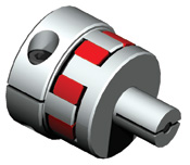 Elastomer coupling with expandable split shaft design for hollow bore applications.