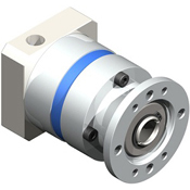 Inline planetary gearbox with straight tooth gearing.  Hollow output gearbox for direct mount to linear actuators