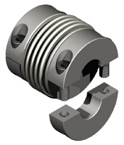 Bellows coupling with split hubs for easy installation and variable lengths (2 or 4 bellows).