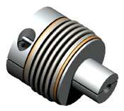 Bellows coupling with expandable split shaft design for hollow bore applications.