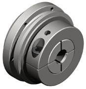 Indirect drive safety coupling with integrated ball bearing for high running accuracy and high radial / axial loads.