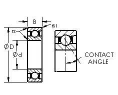 71824AC angular contact ball bearings diagram