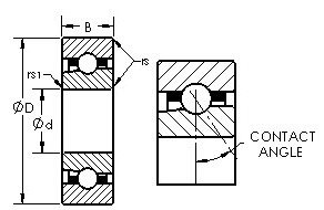 B7012 C C angular contact ball bearings diagram
