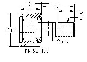 KRV32 cam follower roller bearing cad drawing