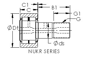 NUKR62 cam follower roller bearing cad drawing