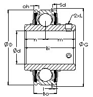 ER208 cartridge ball bearing inserts drawings