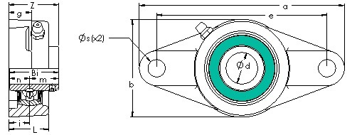UCFL 205-14 two bolt flanged pillow block CAD drawing