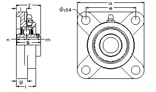 UCF 208-25E four bolt flanged bearing unit drawings