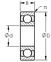 1605 commerical inch series ball bearings diagram
