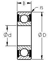 1616-2RS commerical inch series ball bearings diagram