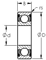 1633ZZ commerical inch series ball bearings diagram