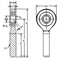 SA40ET-2RS rod ends CAD drawing