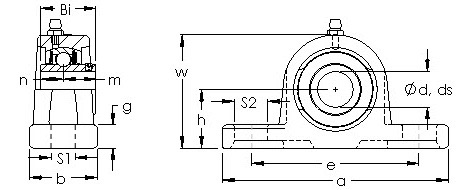 UCP 218 two bolt pillow block CAD drawing