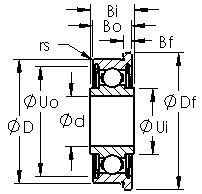 FRW2ZZ R series ball bearing drawings