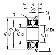 FR10-2RS R series ball bearing drawings