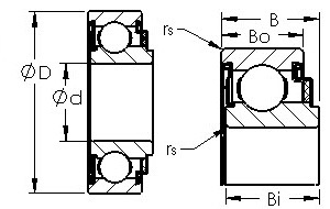 87501 felt sealed single row ball bearings diagram