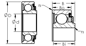 8016 felt sealed single row ball bearings diagram