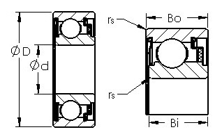 WC87026 felt sealed single row ball bearings diagram