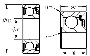 WC8014 felt sealed single row ball bearings diagram