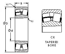 22310CK  spherical roller bearing drawings
