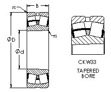 22214CKW33  spherical roller bearing drawings
