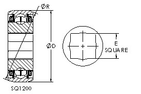 SQ1209-104 square bore ball bearing drawings