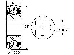 GWSQ211-108 square bore ball bearing drawings