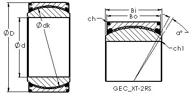 GEC440XT-2RS spherical plain radial bearing drawings