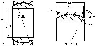 GEH340XT spherical plain radial bearing drawings