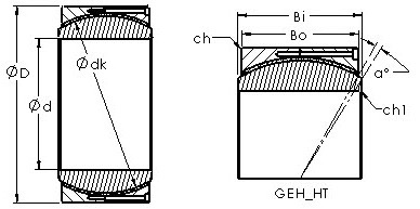 GEH400HT spherical plain radial bearing drawings