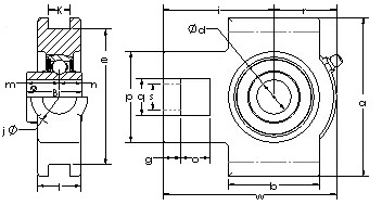 UCT 212-36 Take Up Unit bearings CAD drawing