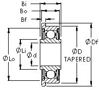 F5ZZ tapered od flanged ball bearing drawings