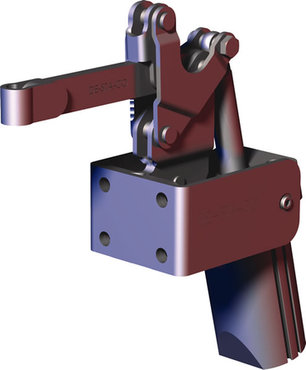 Destaco's 827-S Series pneumatic toggle clamps feature dual mounting surfaces for maximum flexibility, built-in flow restriction that eliminates the need for external flow controls, and is designed for higher holding capacities.