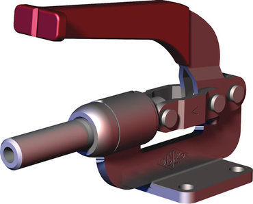 Destaco's 610 Series straight line action clamps are designed for push/pull clamping and allow the handle to rotate then fall below the mounting plane to lock in retracted position.
