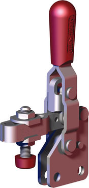 Small, steel toggle clamp with red handle with neoprene spindle and straight base.