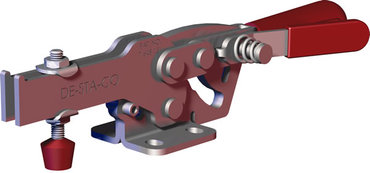 Steel toggle clamp with 2.5 times the capacity of our legacy models with increased handle clearance, Toggle Lock Plus capability, and flanged base with U-bar.